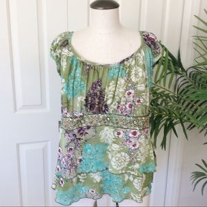 Venezia 22/24 Green Floral Layered Tiered Top